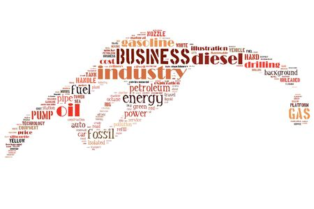 Olie Nozzle info-tekst graphics en de rangschikking concept (woordwolk) Stockfoto