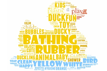 rubber duck info-text graphics and arrangement concept (word cloud)