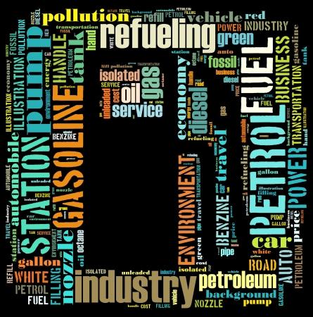 Benzine info-tekst graphics en de rangschikking concept (woordwolk)