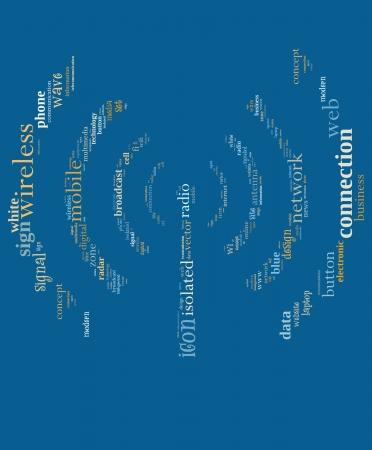 Draadloze info-tekst, afbeeldingen en opstelling concept (word cloud)