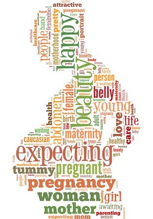 geburt: schwangere Infotext Grafiken in der Schwangerschaft Frauen Shape-Konzept (word clouds) zusammengesetzt