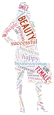 businesswomen info-text graphics and arrangement concept (word cloud)