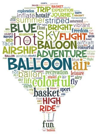 Hot ballon info-tekst, afbeeldingen en opstelling concept (word cloud) Stockfoto