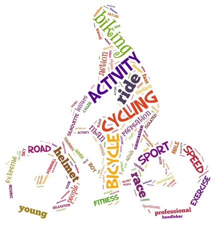 mountain bicycle: ciclismo info-grafica e testo concetto accordo (nube di parola) Archivio Fotografico