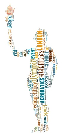 Olympic info-text graphics composed in man hold torch shape concept (word clouds)
