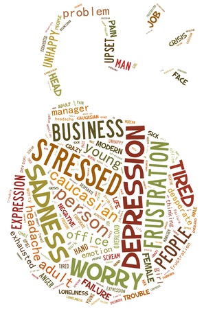 Stress info-text graphics composed in bomb shape concept (word clouds)