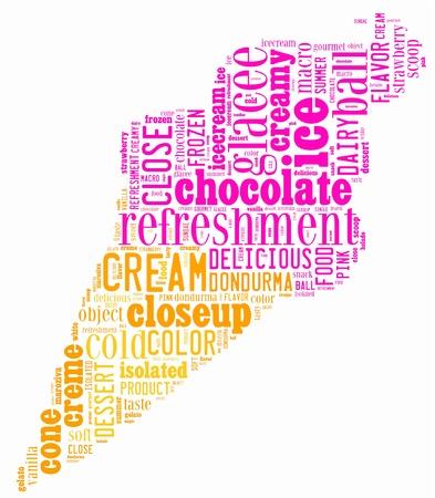 coppa di gelato: gelato info-grafica di testo composti in gelateria concetto di forma su sfondo bianco
