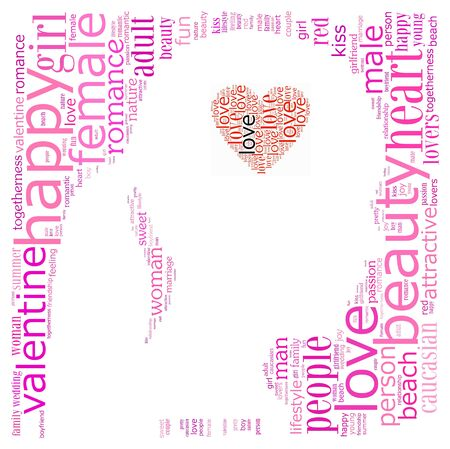 Love info-text graphics composed in head and heart shape concept (word clouds)
