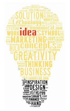 Idea info-text graphics composed in bulb shape concept on white background