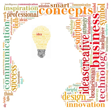 Idea info-text graphics composed in head and bulb shape concept (word clouds)
