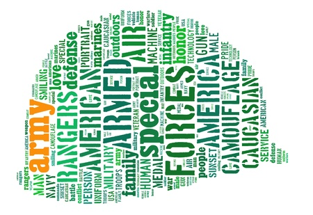 army info-text graphics composed in army helmet (military helmet)  shape concept (word clouds)