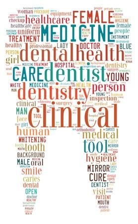 odontologia: Dentista Info-texto concepto disposici�n gr�fica formada en forma de diente sobre fondo blanco Foto de archivo