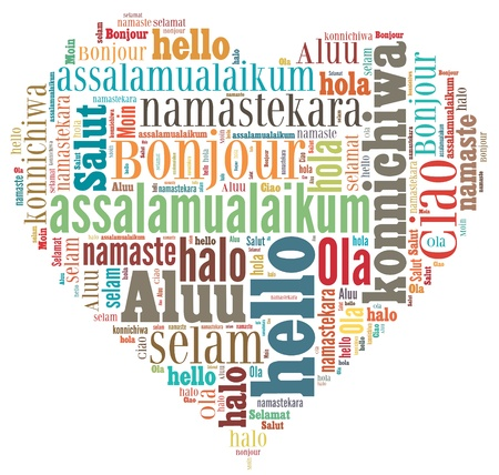 greet: wordcloud illustration of hello (greet people) different languages  in heart shape