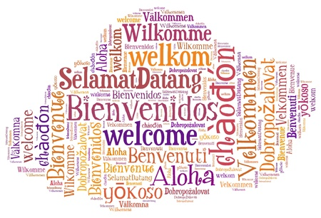 foreign: wordcloud illustration of welcome different languages in cloud shape