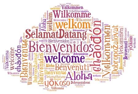 idiomas: wordcloud ilustraci�n de bienvenida idiomas diferentes en forma de nubes Foto de archivo
