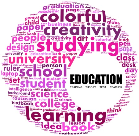 niños estudiando: Educación Palabra collage sobre fondo blanco