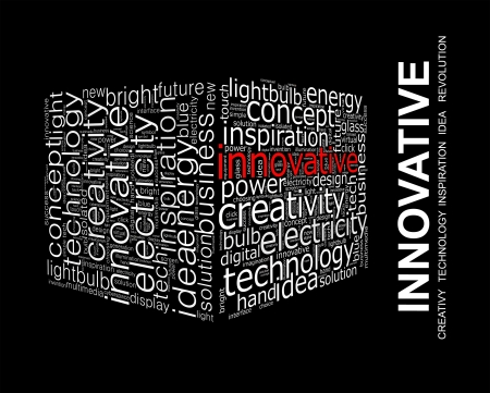 new solution: INNOVATIVE  Word collage on black background Stock Photo