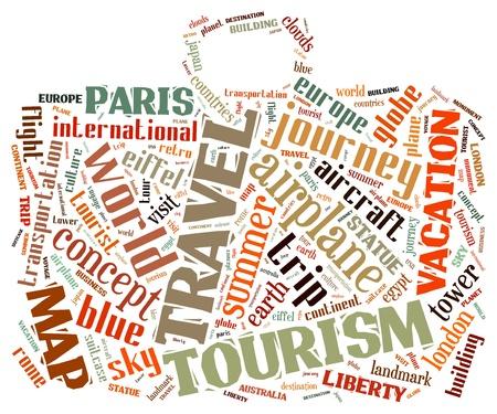 Reis info-tekst, afbeeldingen samengesteld in zak vorm concept van woord wolken op een witte achtergrond Stockfoto