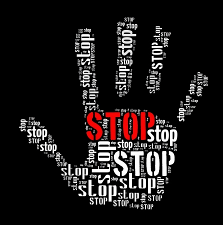 Stop sign in woord collage Stockfoto