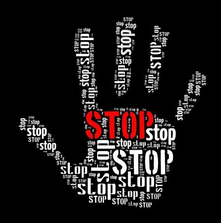 wort collage: Stop sign in Wortcollage Lizenzfreie Bilder