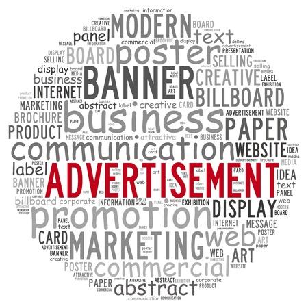 Advertentie infotekst concept in woord wolk op een witte achtergrond