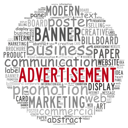 Advertisement info text concept in word cloud on white background  Stock Photo