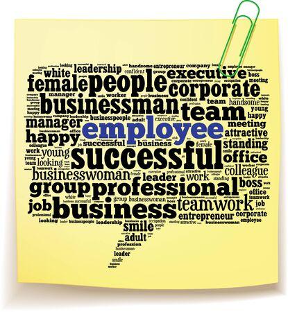 Bericht it note met werknemer info-tekst, afbeeldingen en opstelling concept op witte achtergrond word cloud Stockfoto