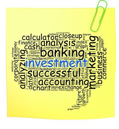 Bericht it note met investeringen info-tekst, afbeeldingen en opstelling concept op witte achtergrond word cloud