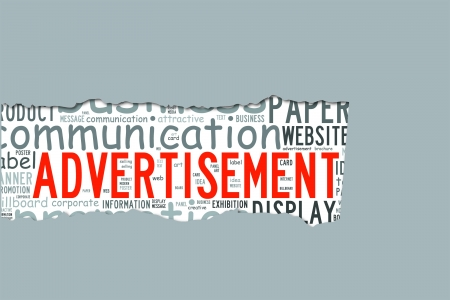 Torn Paper with advertisement info-text graphics and arrangement concept  word cloud   Stock Photo
