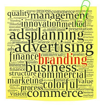 Post-it met branding info-tekst, afbeeldingen en opstelling concept op witte achtergrond word cloud Stockfoto