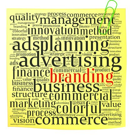 Post it with branding info-text graphics and arrangement concept on white background  word cloud