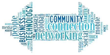 Connection info-text graphics and arrangement concept  word cloud   photo