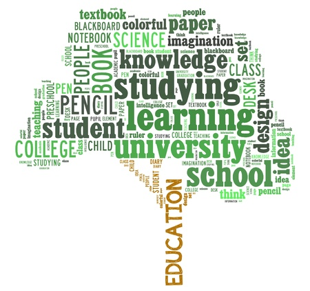 Education info-text graphics and arrangement concept  word cloud  in white background  Stock Photo