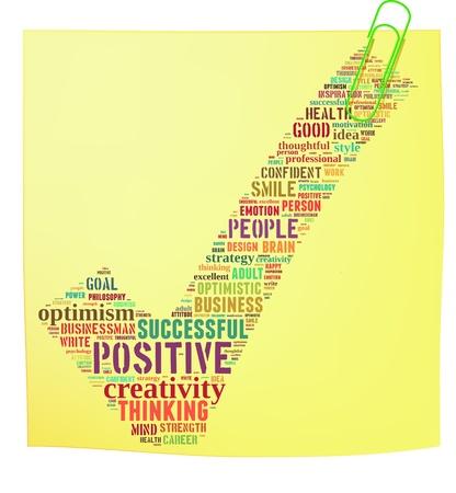 actitud positiva: Post it nota con pensamiento positivo de texto info-gráficos y el concepto de acuerdo nube blanca palabra fondo