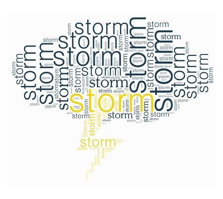 Storm woord collage in hoge hiel vorm