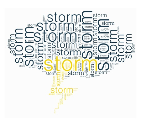 Storm word collage in high heel shape