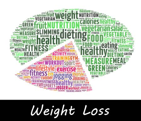 weight loss info-text graphics and arrangement concept (word cloud) in white background
