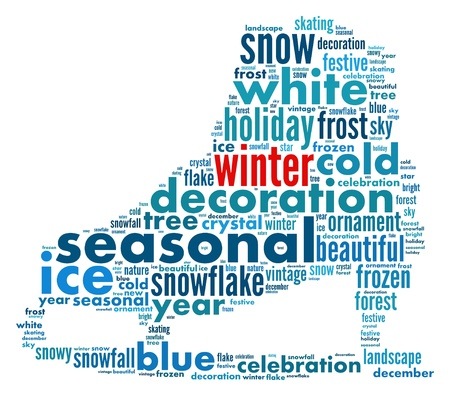 winter info-text graphics composed in skating boot shape concept (word clouds)