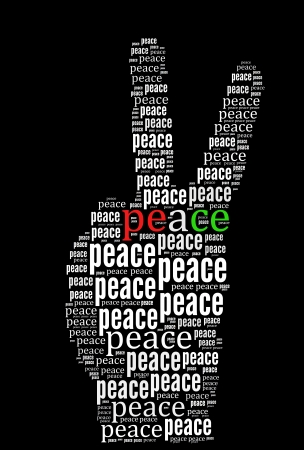 Peace word collage in black background Stock Photo