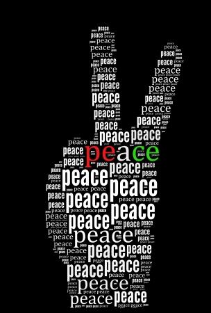 Vrede woord collage op zwarte achtergrond