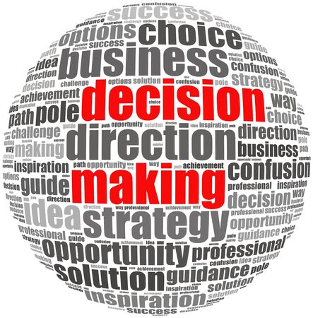 Decision making info text concept in word cloud on white background
