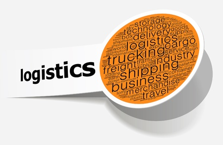 Logistics info-text graphics and arrangement concept on white background  word cloud   photo