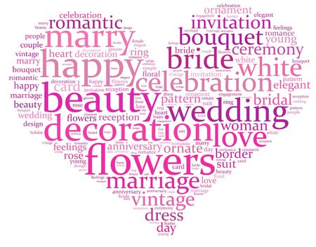 wedding info-text graphics composed in heart shape concept on white background