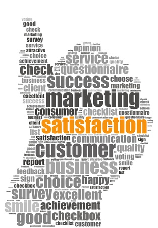 Satisfaction info-text graphics and arrangement concept on white background  word cloud   photo
