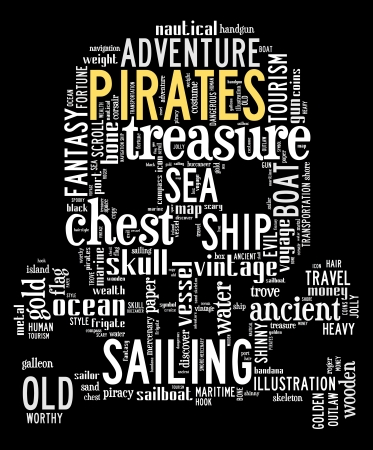 treasure trove: pirates info-text graphics composed in skull and bone shape concept on black background  word clouds