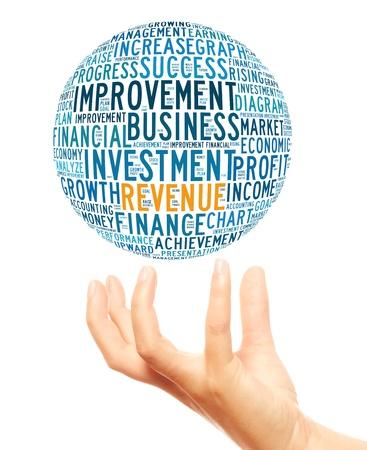 Revenue info-text graphics and arrangement concept (word cloud)