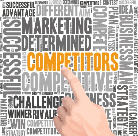 Competitors info-text graphics and arrangement concept on white background (word cloud)  Stock Photo