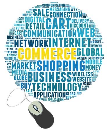 muis met commerce info-tekst, afbeeldingen en opstelling concept op witte achtergrond word cloud Stockfoto