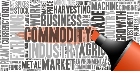 Red oil based marker with commodity info-text graphics and arrangement concept  word cloud