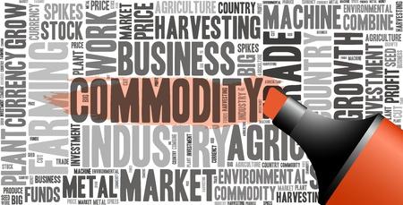 Rode olie gebaseerde marker met commodity info-tekst, afbeeldingen en opstelling begrip word cloud Stockfoto